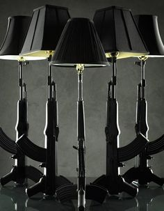 Note: I am NOT promoting guns - Just a masculine lamp.