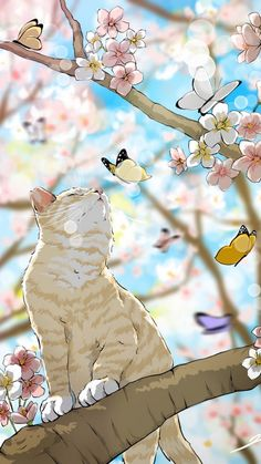 Cats in art - Kunst - Gatos Art Et Illustration, Illustrations, Cat Wallpaper, Anime Scenery, Cat Drawing, Aesthetic Art, Animal Drawings, Cat Art, Fantasy Art