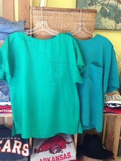 shades of green 80's silk blouses