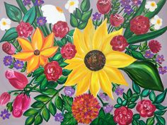 """Large Original Acrylic Floral Painting """"Keep Your Face To The Sunshine And You Can't See A Shadow"""" www.zoyaandme.com"""