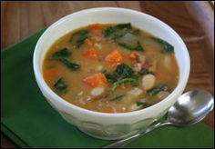 Beany Bacon Soup  (bacon, onion, garlic, chicken broth, white kidney beans, carrots, celery, thyme, spinach, parmesan)