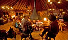 The Round Room, gathering place and bar, at A Bar A in #Wyoming. #WildWest