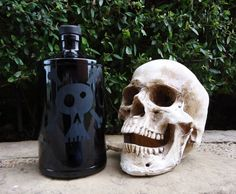 Skull and Crossbones - Pick your poison, repurposed gin bottle. Perfect for Halloween!