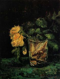 Vincent van Gogh.  Glass with Roses. Paris: Summer 1886