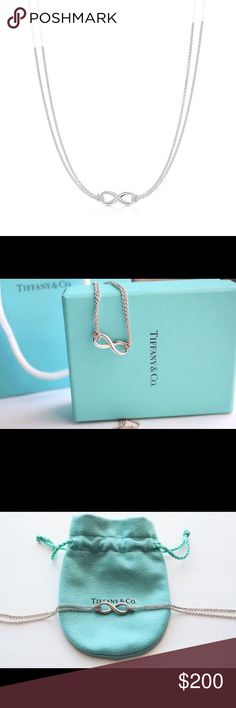 """Authentic TIFFANY and Co INFINITY PENDANT DESCRIPTION & DETAILS minus Tiffany Infinity is a powerful symbol of continuous connection, energy and vitality. The addition of endlessly looped double chains echoes the infinite nature of the design. Sterling silver On a 16"""" chain 100% Authentic. Money Back Guarantee. Brand New with original Tiffany and Co. box Tiffany & Co. Jewelry Necklaces"""