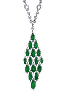 Jacob & Co. one-of-a-kind emerald and diamond necklace in 18k gold
