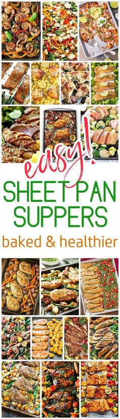 Easy One Sheet Pan Healthier Baked Family Suppers Recipes via Dreaming in DIY - Cleanup and Meal Prep is a BREEZE for quick lunch and simple dinner options. Using less oils and grease these baked options will become your family favorites! Supper Recipes, Easy Dinner Recipes, Easy Meals, Easy Recipes, Freezer Meals, Supper Ideas, Cheap Meals, Crockpot Meals, Amazing Recipes