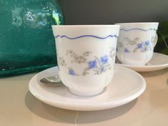 Vintage Arcopal France duos - cups and saucers in Romantique pattern blue flowers