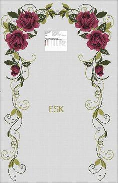 100 (452x700, 53Kb) Cross Stitch Rose, Cross Stitch Flowers, Cross Stitch Embroidery, Cross Stitch Patterns, Hand Embroidery Design Patterns, Embroidery Flowers Pattern, Flower Patterns, Prayer Rug, Antique Roses