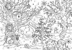 Weihnachtswald Vogelhaus Im Baum Tier Das Im Winkel Winterschlaf Halt Winter Baum Das H Weihnachtsmalvorlagen Weihnachtsfarben Mandala Malvorlagen