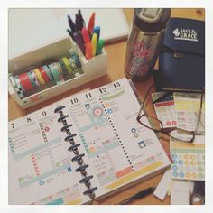 Planning night with custom agenda stickers, washi tape and my favorite planner