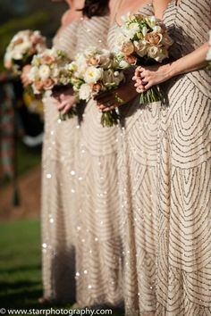Beautiful Bridesmaid Dresses Champagne, Metallic, Gold. Bouquet Cream and Champagne flowers from Best Buds http://www.bestbuds.com.au adrianna papell beaded blouson dress