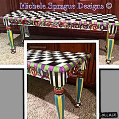 LOVE THIS PROJECT! Swirls, checks, dots. All kinds of colors. Wow!  You can either have a bench painted just like This, or you can have a custom design. Your choice. Thats the beauty of my paint per order system. Imagine this bench with a beach scene on the sides, or mountains and pine trees for an Adirondack feel. Maybe no scene at all. Perhaps colorful polka dots....maybe a puzzle motif for a childs room.......I could go on forever!  This is a large piece, measuring 47.5L x 14W x 18H…
