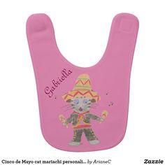 bfbadf64d5396 Cinco de Mayo cat mariachi personalized pink bib