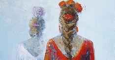 Carmen y Ana van a la feria; Procedimiento: Acrílico; Medidas: 100x50 cm.