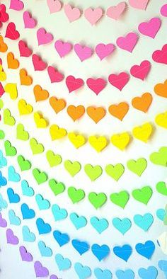 A vibrant, wonderfully cheerful rainbow created from strings of heart garland