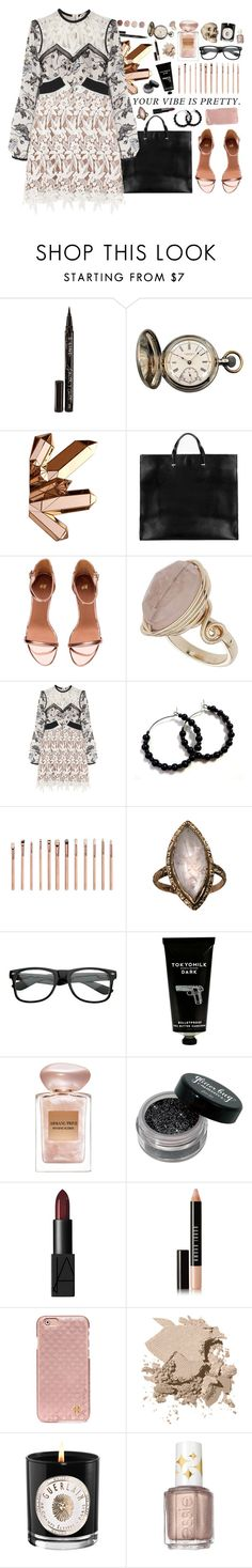 """""""your vibe is pretty"""" by forebodinq ❤ liked on Polyvore featuring Smith & Cult, Tiffany & Co., Clare V., Terre Mère, Topshop, self-portrait, ZOEVA, TokyoMilk, Giorgio Armani and NARS Cosmetics"""