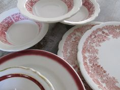 Set of 7 Buffalo China STRAWBERRY Hill BOWLS Plates Restaurant Ware  etsy