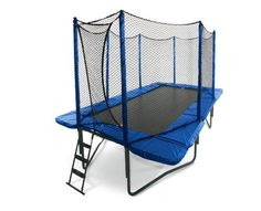 JumpSport 10' x 17' StagedBounce Trampoline with Safety Enclosure by JUMP. $2099.00. JumpSport trampolines are the first and only trampolines designed to reduce the risk of injury directly on the jumping surface. Frame Pad is Thick, Blue, and made up of EPE closed cell foam with a strong PVC outer covering. Heavy-Duty frame is made from Cold Rolled Steel that is 1.8 inches in diameter. Patented StagedBounce technology allow 50% of the springs to engage immediately. Tough Jet...
