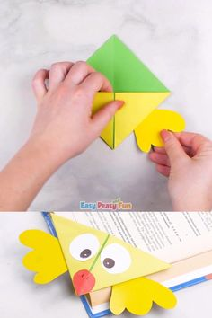 cactus craft Why not use fun origami to encourage reading? This cute chick corner bookmark is an easy origami for kids to make and theyll love using it in their favorite books! Origami Simple, Easy Origami For Kids, Origami Rose, Origami Ball, Useful Origami, Fun Origami, Origami Videos, Arts And Crafts For Teens, Art And Craft Videos