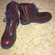 Maroon and Black boots. Never worn. They lace up in the front and zip on the side. No rips or holes. Mossimo Supply Co. Shoes