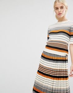 Image 1 of Monki Stripe Knit Top                                                                                                                                                                                 More