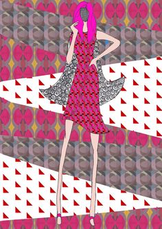 this is my final fashion illustration showing the printed garment design. in this illustration i drew a fashion figure , scanned it in and placed the best print in the dress. for the background i used lasso tool and fillled the background with some of my final prints. i did a Nikki Farquharson inspired final illustration in which i used mixed media i.e. fine liner drawn figure and pattern in the hair , drawn face and photoshop edited background.