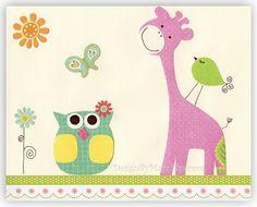 Kids Room Decor Nursery Art owl bird giraffe Sunny by DesignByMaya, $17.00