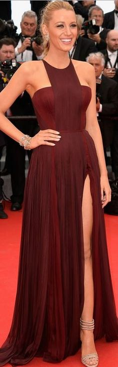 Who made Blake Lively's red pleated gown that she wore in Cannes on May 14, 2014?