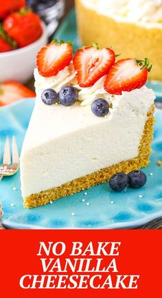 This Easy No-Bake Cheesecake Recipe makes a perfect, smooth and creamy cheesecake! It's the best cheesecake recipe to make if you're new to making cheesecake or want an absolutely fool-proof recipe. Made with whipped cream and sour cream, it has the perfect cheesecake texture and flavor. No Bake Vanilla Cheesecake, Baked Cheesecake Recipe, How To Make Cheesecake, Best Cheesecake, No Bake Desserts, Delicious Desserts, Dessert Recipes, Whipped Cream, Sour Cream