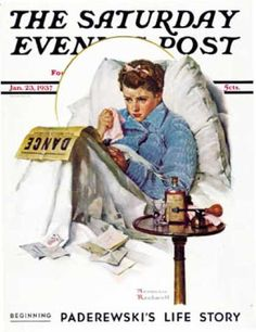 """""""The Cold"""" 1/23/1937 aka. """"Missing the Dance"""" by Norman Rockwell for the Saturday Evening Post, cover"""
