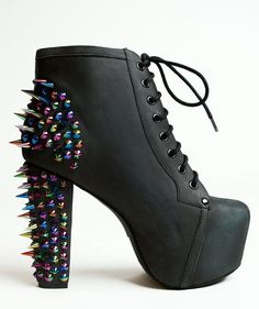 Spiked high heel boots