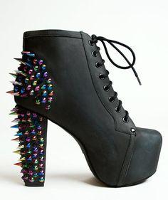 Spiked high heel boots