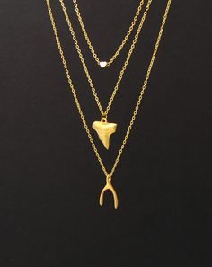 layer necklace - shark tooth - heart necklace - luck bone