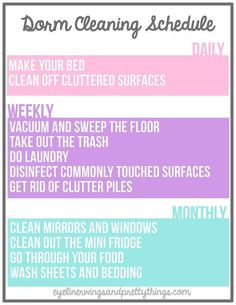 Cleaning Schedule | 10 Hacks to Make Your Dorm Room Cleaner Than It's Ever Been | http://www.hercampus.com/life/campus-life/10-hacks-make-your-dorm-room-cleaner-its-ever-been | Eyeliner Wings and Pretty Things
