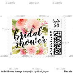 Bridal Shower Postage Stamps | Pink Watercolor Custom wedding bridal shower postage stamps feature black script custom text that can be personalized for your event with a beautiful watercolor floral border of greenery with pastel pink, blush, and peach spring dahlia and rose flowers.