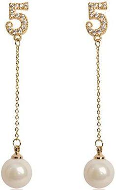 Fashion Jewelry Rhinestone Immitation Pearl Lucky Number Five Long Dangle Earrings