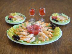 Shrimp Platter - 5 Pc. Upscale Set - $29.95 : Karen's Dollhouse Shop, Unique Handcrafted Dollhouse Miniatures