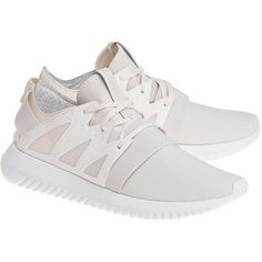 ADIDAS ORIGINALS Tubular Viral Chal White // Flat sneakers (810 DKK) ❤ liked on Polyvore featuring shoes, sneakers, ribbon shoes, adidas originals trainers, elastic shoes, white flat sneakers and adidas originals