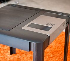 Unique and Elegant Coffee Table in Giant Floppy Disk Figure – Floppy Disk Table - The Great Inspiration for Your Building Design - Home, Building, Furniture and Interior Design Ideas Geek Furniture, Cool Furniture, Furniture Design, Table Furniture, Table Cafe, Floppy Disk, Creation Deco, Hidden Storage, Secret Storage