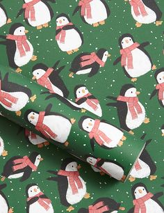 Penguins Jumbo Christmas Wrapping Paper 14m