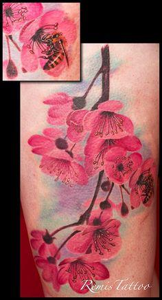 cherry blossom tattoo by Remistattoo.deviantart.com