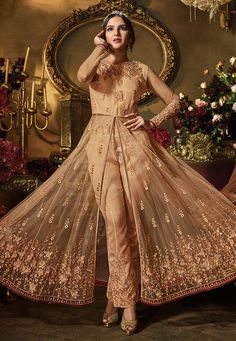 Buy Beige Net Center Slit Anarkali Suit 158688 online at lowest price from huge collection of salwar kameez at Indianclothstore.com. Stylish Suit, Eid Dresses, Pakistani Bridal, How To Dye Fabric, Anarkali Suits, Color Shades, Salwar Kameez, Fashion Pants, Lehenga