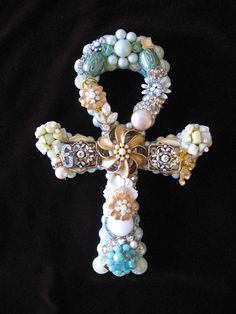 Celeste Cross Vintage Jewelry Art Sculpture by ArtCreationsByCJ, $85.00