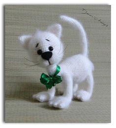 White Cat OOAK Stuffed Animals Crochet Handmade Soft toy by Tjan