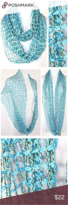 "Teal Blue Gold Metallic Lurex Infinity Scarf B84 ‼️ PRICE FIRM UNLESS BUNDLED WITH OTHER ITEMS FROM MY CLOSET ‼️   Super stylish!  High quality.  17"" wide, 31"" long.  100% polyester. Available in many other colors in my Ebay store.  Please check my store for thousands more items including clothing and jewelry. Accessories Scarves & Wraps"