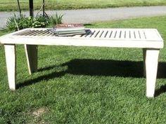Primitive, Rustic Shutter Table made with Vintage Shutter (make legs longer for sofa table...)