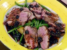 Seared Magret Duck Breasts with Duck Fat, Pan-Roasted Fingerling Potatoes, Haricots Verts and a Balsamic Cherry Reduction
