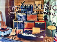 """""""Without Music, Life Would Be A Mistake"""" Wanda Barcelona + Woouf created this cardboard window display for Colette during Paris design week. Window Display Design, Store Window Displays, Display Windows, Guitar Store, Music Store, Music Recording Studio, Woodstock Music, Visual Merchandising Displays, Cardboard Display"""