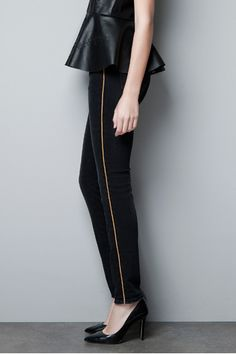 Give Denim Its Due! 10 Chic Zara Jeans We'd Wear Long After Errands Are Over #refinery29  http://www.refinery29.com/39727#slide3  Zara Trousers With Gold Side Trim, $79.90, available at Zara.